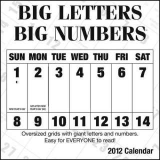 Big Letters Big Numbers 2012 Wall Calendar