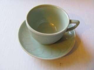 JAPANESE JADEITE GREEN POTTERY KOI FISH TEA CUPS