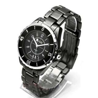 SINOBI Lady Men Fashion charm dress casual Ceramic wrist watch Black