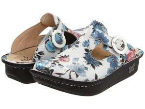 Alegria Womens DONNA FANTASIA White Floral Leather Nursing Clogs Shoes