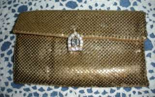 Vintage Whiting & Davis Clutch Bag Purse Gold Mesh With Rhinestones
