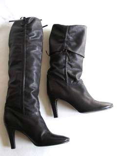 MORRISON~BLACK LEATHER KNEE HIGH PIRATE SCRUNCH BOOTS~HEELS~10.5