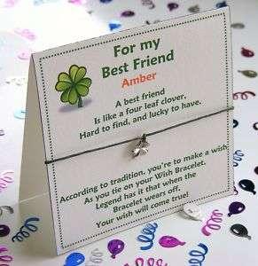Personalised Best Friendship Wish Bracelet Card Gift