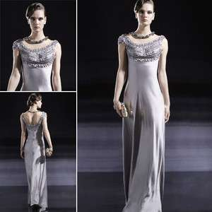 Gray Round Neck Slim Satin Long Evening Gown Formal Wedding Bridesmaid