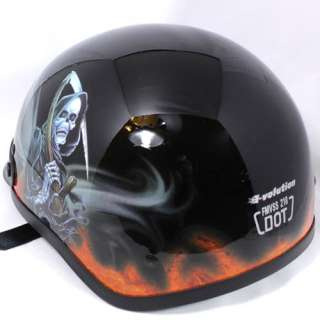 FLAME REAPER BEANIE HALF CRUISER MOTORCYCLE HELMET DOT ~Size M, L, XL