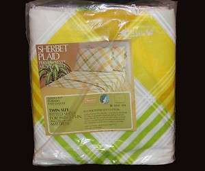 Lime Green Yellow White Tones Twin Fitted & Flat Sheet NIP