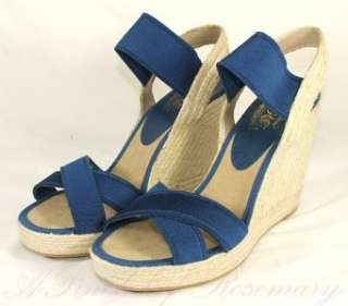 Nine 9 West Jaxson Platform Raffia Wedge Heels Sandals Shoes Blue 9.5