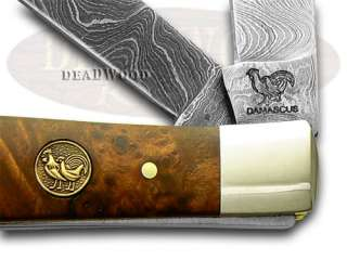 HEN & ROOSTER AND Burl Damascus Trapper Pocket Knives