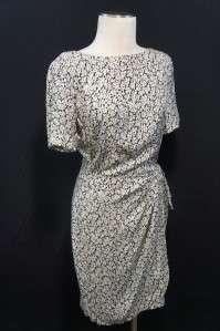 Liz Claiborne Black & Beige Floral Design Wrap Around Look Dress 100%