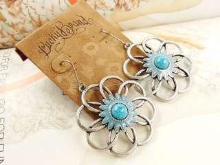 NWOT Lucky Brand Tibet style antique finish turquoise flower earrings