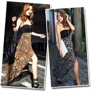Sexy Chiffon Bustier Leopard Party Maxi Long Cocktail Evening Skirt