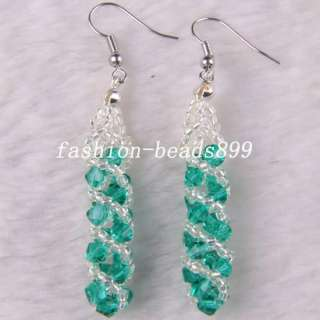 New Swarovski Crystal Beads Weave Dangle Earrings U062