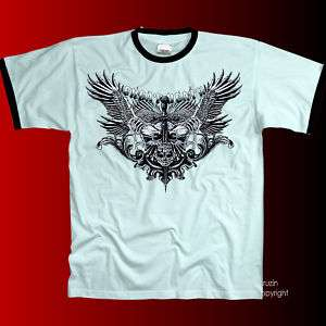 Gothic Adler Totenkopf Skull Biker Tattoo T Shirt *4220