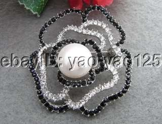 Stunning 14.5MM White Pearl&Rhinestone Flower Brooch