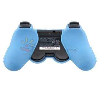 Blue Rubber Skin Gel Soft Case Cover For Sony PS3 Controller