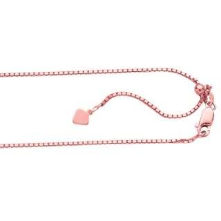 Technibond Adjustable Box Chain 14K Rose Pink Gold Clad Sterling