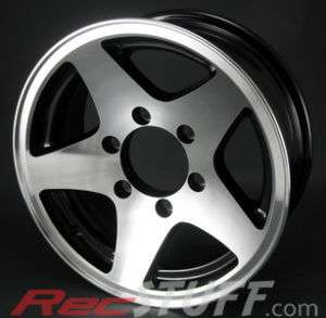 15X6 6/5.5 (6 Bolt) Aluminum 5 Star Trailer Wheel   BLK