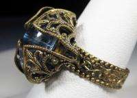 West Germany Ring Vintage Filigree Blue Stone CAR 2212