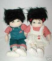 Cute boy & girl 19cloth artist dolls 1989 signed & tag