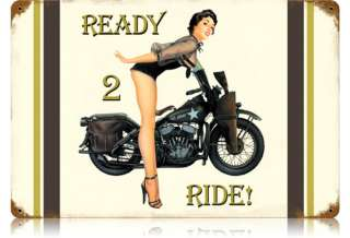 Ready to Ride sexy US Army motorcycle metal sign