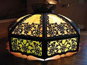 1900 Bradley & Hubbard Art Nouveau Slag Glass Hanging Pendant Fixture
