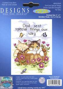Cross Stitch Kit ~ God Sent Special Things Kitty Cats