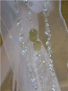 NWT Wedding bridal cap chapel veil w/crystals WHITE/champagne
