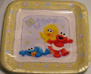 Baby SESAME STREET LARGE LUNCH PLATES ~ Shower Party Supplies