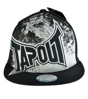 New Original Mens TAPOUT Logo Ball Cap Flex Hat UFC Black White Splat