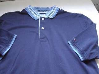 TOMMY HILFIGER SIZE M Blue Mercerized Cotton POLO SHIRT Tri Color