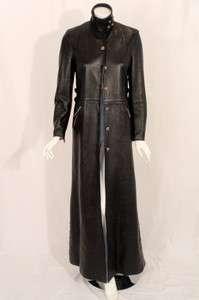 Chrome Hearts Long Black Leather Coat w/ Metal Hardware