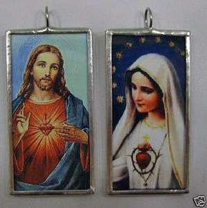 JESUS / VIRGIN MARY DOUBLE SIDED ART GLASS PENDANT