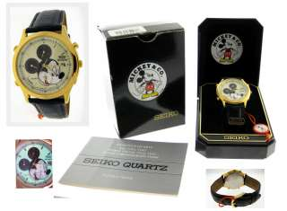MENS SEIKO MICKEY MOUSE MICKEY & CO. LUMIBRITE QUARTZ CHRONOGRAPH
