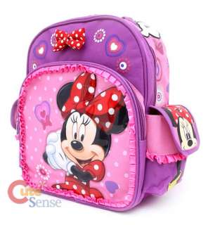 Minnie Mouse School Backpack 12 Medium Bag Pink Bow Laces