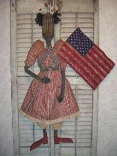Primitive Grungy Folk Art HUGE 45 Blessed Lady Liberty Doll ~ PSAH