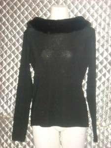 Fioreblu Black Wide Faux Fur Lined Neck Sweater Top M