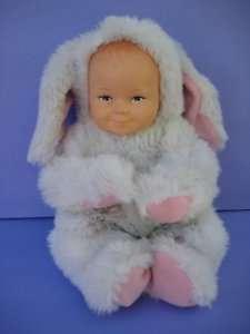 11 BABY DOLL IN WHITE BUNNY RABBIT SUIT ANNE GEDDES Plush Toy Vinyl
