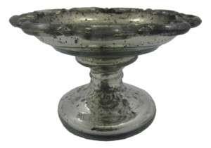Antiqued MERCURY GLASS Compote Pedestal BOWL 6 Silver