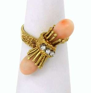 BEAUTIFUL 18K GOLD, DIAMONDS & ANGEL SKIN CORAL RING