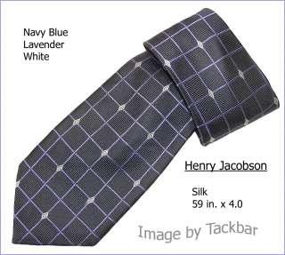Mens Henry Jacobson Navy Designer Silk Dress Tie 241