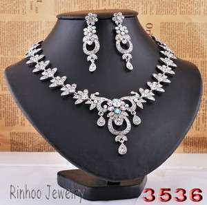 White Circle Flowers Leafs AB Rhinestone Crystal Bridal Prom Necklace