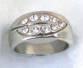 CLEAR CRYSTAL LEAF DESIGN FASHION RING MENS WOMENS SIZE 6, 7, 8, 8.5