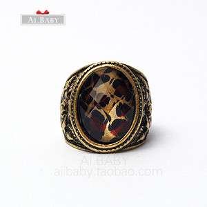 New Wild Leopard Print Bronze European Retro Ring valentines Ring