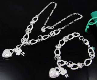 Silver EP Key Heart Necklace&Bracelet Party Set S35