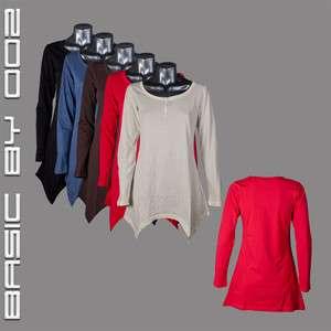 Neu Damen Long Shirt Knopfleiste trend modern Bluse Top