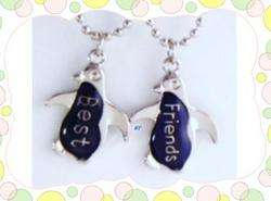 Best Friends Penguin two cute Mood Necklaces