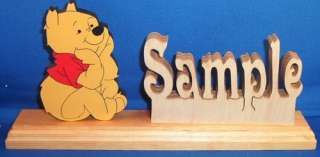 Wooden Name Plaque Sign &FREE Winnie the Pooh in Love