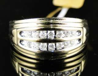 NEW MENS 10K YELLOW GOLD 2 ROW ROUND CUT DIAMOND WEDDING 11 MM BAND