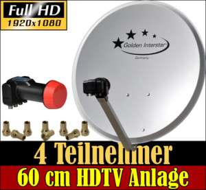 Komplett Sat Anlage 60cm mit QUAD LNB 4 Teilnehmer HDTV