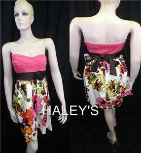Me Juniors Strapless Floral Print Dress Sexy Party Size 5 Free Ship